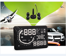 "5.5"" tpms tire pressure monitoring system head up display HUD obd2 TPMS tire pressure detecting alarm hud projector FUEL speed"