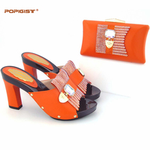 Global free DHL express lady Orange evening Shoes And Bag Set Summer Fashion Simple design Pumps Shoe And Bag Set For Party