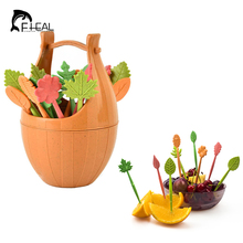 FHEAL 16pcs Green Biodegradable Wheat Straw Leaves Fruit Fork Set Party Cake Salad Vegetable Forks Picks Table Decor Tools(China)