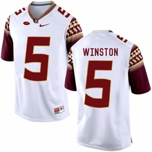 Nike Florida State Seminoles Jameis Winston 5 White Limit Ice Hockey Jerseys Size S,M,L,XL,XXL,3XL(China)