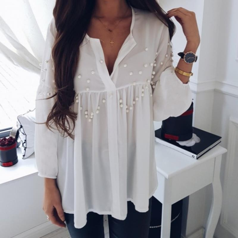 Elegant Pearls Beading Shirts Long Sleeve V Ncek White Chiffon Shirt Pleated Chic Blouse Office Lady Casual Tops Blusas WS6098O 3