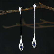 925 Sterling Silver Handmade Jewelry Lapis Lazuli Long Drop Earrings For Women(China)