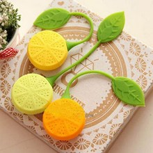 1pc Silicone orange lemon Design Loose Tea Leaf Strainer Herbal Spice Infuser Filter Tools Leaf Strainer(China)