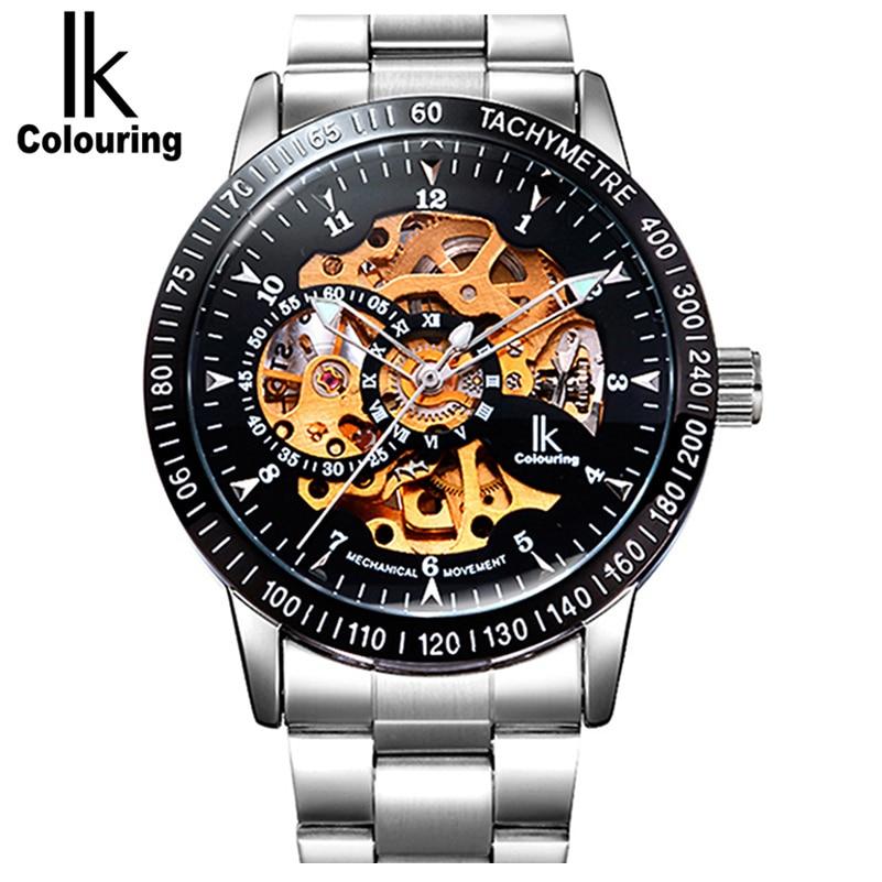 Luxury Mechanical Skeleton Waterproof Watch Men Brand IK Stainless Steel Strap Fashion Casual Wristwatches Relogio masculine A/B<br><br>Aliexpress