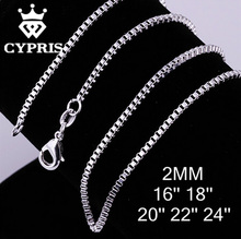 "C009 16""18""20""22""24"" 2mm  silver  Box Bike Chain Engraved Wholesale For Jewelry Findings jewellery accessory hot bulk wholesale"
