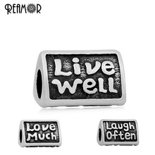 REAMOR 316L Stainless Steel Antique Trihedral Letter Live Well Love Much Laugh Often European Large Hole Beads Fit Bracelet DIY