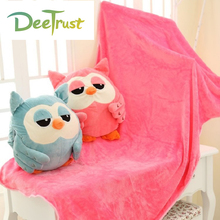 Plush Air Conditioning Cartoon Animal Owl Pillow with Blanket 3 in 1 Children Toy Home Textile Decoration for Sofa kids Gift