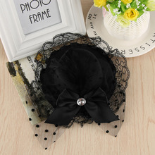 Lady Mini Feather Bowknot Hat Lace Pillbox Party Hair Clip Daily Wear Gift New