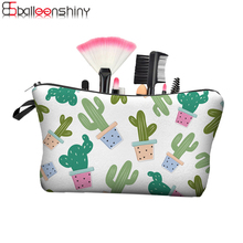 BalleenShiny Travel Organizer Portable Storage Bags For Makeup Cactus Printed Polyester Cosmetic Bag Holder Pencil Case(China)