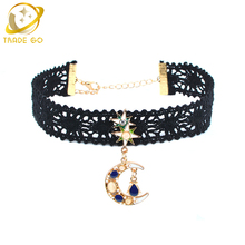 moon necklace lace choker women fashion jewelry colier femme chokers steampunk star collares vintage ras de cou gargantilla(China)