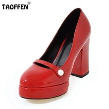 TAOFFEN Lady High Heel Shoes Women Round Toe Pumps Square Heel Platform Shoes Footwear Ladies Buckle Heels Shoes Size 34-43