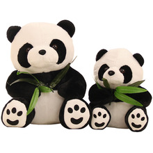 1pcs 10cm Cute Cartoon Panda With Bamboo Baby Plush Toys Infant Soft Stuffed Animal Key Chain Plush Doll Toys Kids Gift Toy(China)