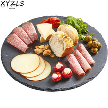 XYZLS Round Natural Slate Plate Diameter 20cm 25cm 30cm Solid Stone Tray Cheese Food Pizza Steak Dish Flat Plate Fruit Tray