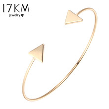 17KM 3 Color Punk Arrow Bracelets & Bangles Fashion Gold Color Punk Open Bangle For Women Gift Cuff Bracelet pulseira feminina