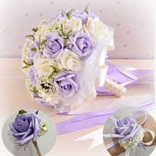 romantic wedding bridesmaid rose pearls artificial flowers bridal bouquets wrist corsage and groom boutonniere purple 24cm(China)
