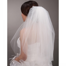 Hot Sale High Quality Tulle Cut Edge Wedding Veils with Comb White Ivory Two Tiers Bridal Veils Wedding Accessories veu de noiva