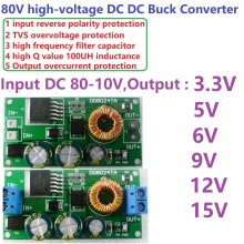 High-Voltage EBike DC-DC Converter Buck Step-Down Regulator Module 80V 72V 64V 60V 48V 36V 24V to 15V 12V 9V 6V 5V 3.3V(China)