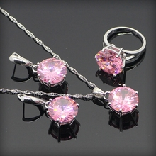 Round Princess Pink Created Topaz Women 925 Sterling Silver Jewelry Sets Sliver Pendant/Necklace/Earrings/Rings Free Gift Box