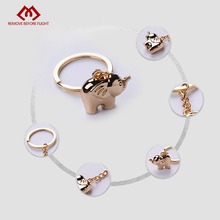 Wholesale Fashion Jewelry Creative Key Chain of Gold-color Elephant Shaped Christmas Gifts Key Chains Animal Chaveiro 10 PCS/LOT