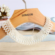 16 styles Fashion Imitation Pearl Brand Designer Bib Collar Choker Necklace Jewelry For Women Wedding Party(China)
