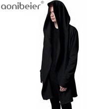 Aonibeier Men Hooded Sweatshirts With Black Gown Hip Hop Mantle Hoodies Fashion Jacket long Sleeves Cloak Man's Coats Outwear(China)