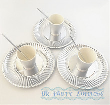 30 Sets Party Birthday Valentine Celebration Tableware Set Foil Silver Paper Plate Drinking Paper Straws Paper Cups