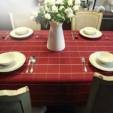 Europe Style High Quality Red/Coffee Colored Plaid Table Cloth Dustproof Rectangular Tablecloths Dining/Cafe/Hotel Home Textile(China)
