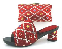 TH16011-6 Beautiful Design Indian Bridal Shoes And Matching Bag For Women Low Heels With Crystal Purse!