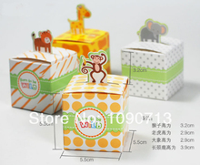 Free Shipping 20X Lovely Animal Candy Box Four Styles Creative Gift Box Kids Birthday Party Deco Supply(China)