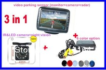 "car parking sensor 3.5""monitor video reverse camera  system HD TFT+LED/IR high resolution camera+6 color sensor parking sysem"