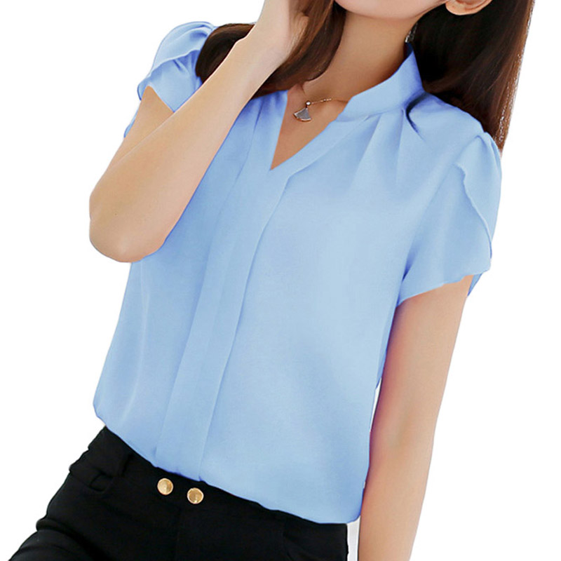 Women Shirt Chiffon Blouse Femininas Tops Short Sleeve Elegant Ladies Formal Office Blouse Plus Size 3XL Chiffon Shirt Clothing(China)