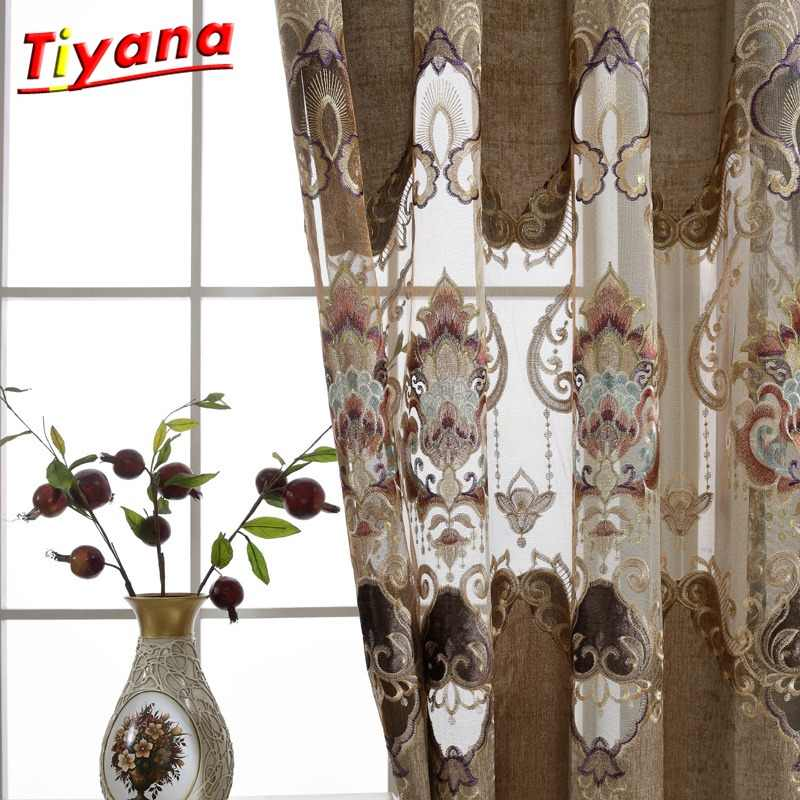 Europe Window Treatments Water-soluble Hollow Embroidery Luxury Voile Brown Curtains For Living Room Lace Curtains Tulle  *30
