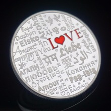 Love Coins Valentine's Day Silver Souvenir Coins With Round Box Lover Gift Greek, Arabic, French, Korean, Philippines Words(China)