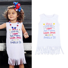 2017 New Fashion Baby Girls Dress Kids Girl Summer Sleeveless Tassel Dresses Little Girls Fashion Kid letter Dress