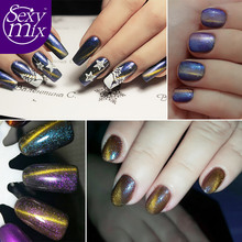 Sexymix Newest Cat Eyes Gel Nail Polish Soak off Nail Gel 12 Colors High Quality 3D Magnetic UV Gel Varnish Used With Black Gel