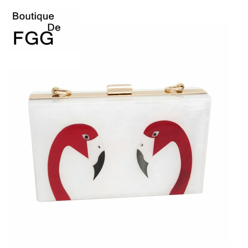 Famous Brand Flamingo Party Acrylic Clutch Bag For Women Box Evening Bags Metal Clutches Purses Wedding Bridal Chain Handbags<br><br>Aliexpress