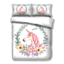 Wongs Bedding Brand Cute Unicorn Bedding Set Cartoon Duvet Cover Twin Full Queen King Size 3PCS Bedclothes