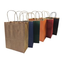 10 Pcs/lot Natural Kraft Paper Bag With Handle Party Recyclable Paper Gift Bags Environmental Protection 27*21*11cm