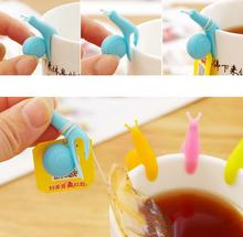 Cute Snail Wineglass Label For Tea Bag Hanging Mug Cup Clip Tea Infuser Party Supplies Novelty Product Color Random(China)