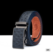 Ostrich leather belt fashion automatic buckle men's leather belt wide pants belt wholesale origin