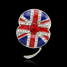Women Crystal Poppy Brooch Flower Wedding Bouquet Wholesale 6pcs/Lot Cheap Enamel Brooch Pin Brand Jewelry British Flag Pattern