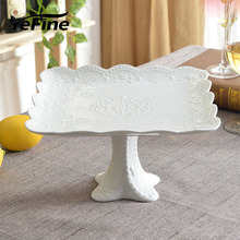 YeFine Brand Advanced Porcelain Square Cake Stand Wedding Gift Ceramic Kitchen Accessories Fruit Tray Dessert Plates Gifts