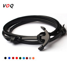 New Arrival Retro 70cm Leather Bracelet Men Jewelry Black Anchor Bracelet Women Best Gift Free Shipping
