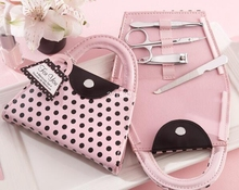 +Wedding Favors Pink Polka Dot Purse Manicure Set Bridal Shower Gift Pedicure Kit For Guest+100sets/ lot(China)