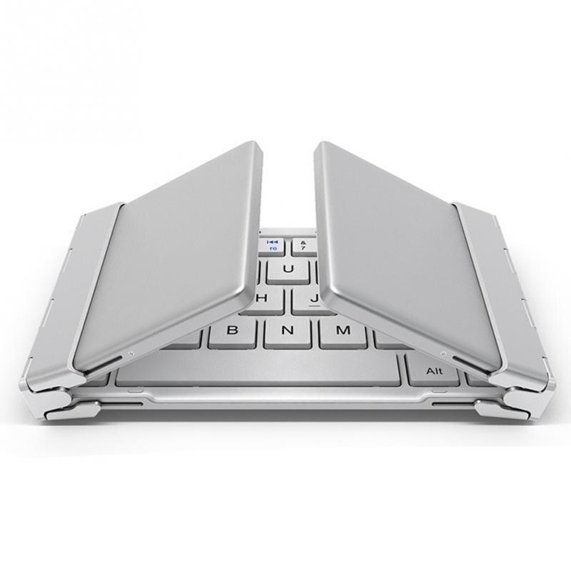 Intelligent Pocket Folding Keyboard Aluminum Bluetooth Foldable Universal Wireless Travel Keypad for iphone ipad PC tablet phon<br>