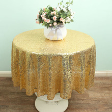 48'' Round Gold Sparkly Wedding Sequin Table Overlay Glitter Linen TableCloths