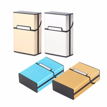 1pcs Light Aluminum Cigar Cigarette Case Tobacco Holder Pocket Box Storage Container Smoking Accessories 6 colors Dropshipping(China)