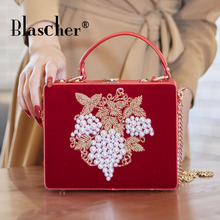 Blascher PU and Corduroy Embroidery Flower Beaded Women Shoulder Handbags Messenger Bags Evening Totes Bag Box Clutch Purse Bag(China)