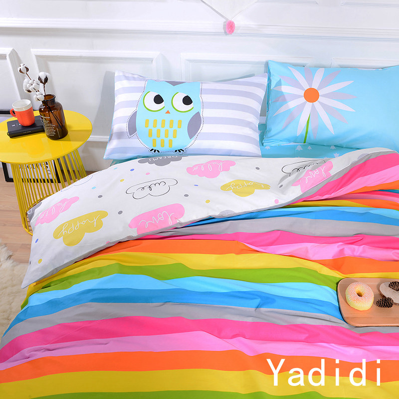 Yadidi 100 Cotton Rainbow Owl Bedding Set Cartoon Modern Flower Fl Twin Queen Size Stripe Bed Duvet Cover Sheet Summer In Sets From Home