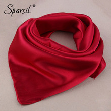 Sparsil New Imitated Silk Square Scarves Solid Color Soft Head Wraps Cosplay Neckerchief Adult Child 60x60 Multifunction Scarf(China)